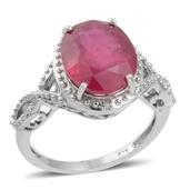 Niassa Ruby, Diamond Sterling Silver Ring (Size 9.0) TDiaWt 0.01 cts, TGW 6.610 cts.