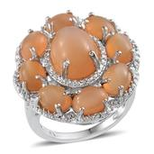 Sri Lankan Pink Moonstone, Diamond Platinum Over Sterling Silver Ring (Size 7) TDiaWt 0.04 cts, TGW 11.240 cts.