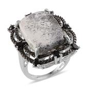 Dendritic Agate, Thai Black Spinel, Black Diamond Platinum Over Sterling Silver Ring (Size 7) TDiaWt 0.04 cts, TGW 17.100 cts.