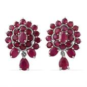 Niassa Ruby Platinum Over Sterling Silver Earrings TGW 12.920 cts.