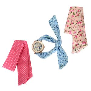 STRADA Austrian Crystal Japanese Movement Watch with Set of 3 Flower Printed Cloth Wraps