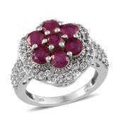 Niassa Ruby, White Topaz Platinum Over Sterling Silver Ring (Size 8.0) TGW 6.130 cts.