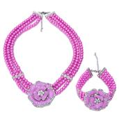 Austrian Crystal, Simulated Pink Pearl, Enameled Stainless Steel Flower Bracelet (7.5 in) and Necklace (17.00 In)