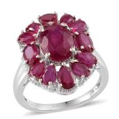 Niassa Ruby Platinum Over Sterling Silver Ring (Size 8.0) TGW 8.950 cts.