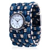 STRADA Japanese Movement Watch with Blue and White Cotton Band and Stainless Steel Back (7.5 in)