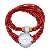 STRADA Austrian Crystal Japanese Movement Red Wrap Watch with Stainless Steel Back