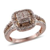 Diamond, Champagne Diamond 14K RG Over Sterling Silver Ring (Size 8.0) TDiaWt 0.50 cts, TGW 0.500 cts.