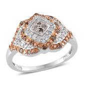 Champagne Diamond, Diamond 14K RG and Platinum Over Sterling Silver Ring (Size 8.0), TDiaWt 0.50 cts, TGW 0.500 cts.