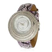 STRADA Austrian Crystal Japanese Movement Watch with Purple Band and Stainless Steel Back