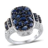 Kanchanaburi Blue Sapphire, Blue Diamond Platinum Over Sterling Silver Ring (Size 5.0) TDiaWt 0.04 cts, TGW 4.830 cts.