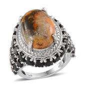 Bumble Bee Jasper, Thai Black Spinel, Diamond Platinum Over Sterling Silver Ring (Size 7.0) , TDiaWt 0.01 cts, TGW 20.360 cts.