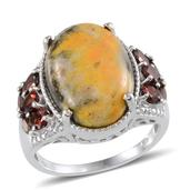 Bumble Bee Jasper, Mozambique Garnet, Diamond Platinum Over Sterling Silver Ring (Size 6.0) TDiaWt 0.02 cts, TGW 13.150 cts.