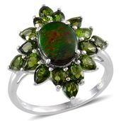 Canadian Ammolite, Russian Diopside Platinum Over Sterling Silver Ring (Size 7.0) TGW 4.65 cts.