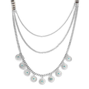 Blue Chroma, Glass Silvertone Drape Necklace (30-32.5 in)