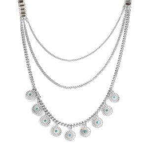Blue Chroma, Glass Silvertone Drape Necklace (30-32.5 in)