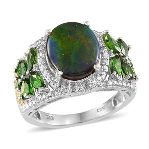 Canadian Ammolite, Russian Diopside, Diamond 14K YG and Platinum Over Sterling Silver Ring (Size 7.0) TGW 4.56 cts.