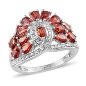 Orange Sapphire, Diamond Platinum Over Sterling Silver Ring (Size 6.0) TDiaWt 0.01 cts, TGW 3.550 cts.