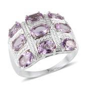 KARIS Collection - Rose De France Amethyst (Ovl), Diamond Ring in Platinum Bond Brass (Size 8) TDiaWt 0.01 cts, TGW 4.510 cts.