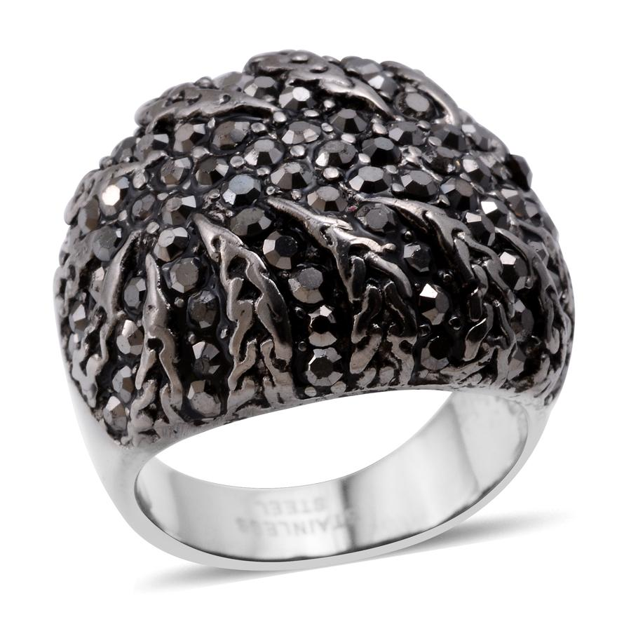 Hematite ION Plated Black and Stainless Steel Ring (Size 9.0) TGW 15.10 cts.