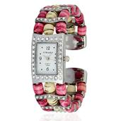 STRADA Austrian Crystal Japanese Movement Pink Chroma Cuff Watch with Stainless Steel Back