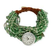 STRADA Japanese Movement Bracelet Watch with Stainless Steel Back and Green Seed Bead Band (8 in)