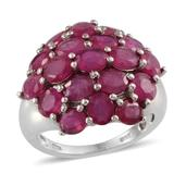 Niassa Ruby Platinum Over Sterling Silver Ring (Size 7.0) TGW 8.000 cts.