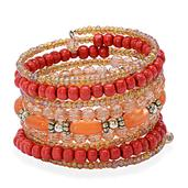 Red Wooden Beads, Champagne Glass Beads Bracelet in Silvertone (7.5 in) TGW 0.002 cts.