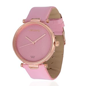STRADA Japanese Movement Watch with Pink Band and Stainless Steel Back