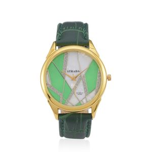 STRADA Austrian Crystal Japanese Movement Watch With Green Band and Stainless Steel Back