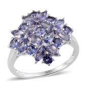 Tanzanite Platinum Over Sterling Silver Ring (Size 9.0) TGW 2.810 cts.