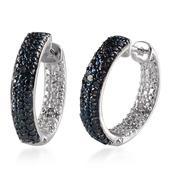 Blue Diamond (IR), Diamond Platinum Over Sterling Silver Hoop Earrings TDiaWt 0.16 cts, TGW 0.160 cts.