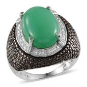 Australian Chrysoprase, Green Diamond, Diamond Platinum Over Sterling Silver Ring (Size 8.0) TDiaWt 0.06 cts, TGW 12.560 cts.