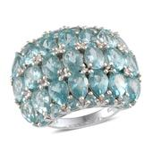 Madagascar Paraiba Apatite Platinum Over Sterling Silver Ring (Size 8.0) TGW 10.350 cts.