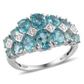 Madagascar Paraiba Apatite Platinum Over Sterling Silver Ring (Size 5.0) TGW 4.520 cts.