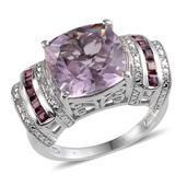 Rose De France Amethyst, Orissa Rhodolite Garnet, Diamond Platinum Over Sterling Silver Ring (Size 6) TDiaWt 0.03 cts, TGW 6.780 cts.