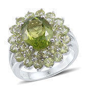Hebei Peridot Sterling Silver Ring (Size 6.0) TGW 7.150 cts.