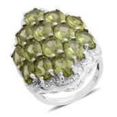 Hebei Peridot, Diamond Platinum Over Sterling Silver Ring (Size 7) TDiaWt 0.03 cts, TGW 11.032 cts.