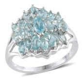 Madagascar Paraiba Apatite Platinum Over Sterling Silver Ring (Size 8.0) TGW 2.800 cts.