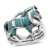 Santa Fe Style Turquoise Sterling Silver Walking Horse Ring (Size 6.0) TGW 7.250 cts.