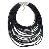 Silvertone Black Multi Strand Drape Necklace (18-21 in)