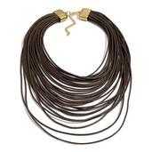 Goldtone Brown Multi Strand Drape Necklace (18-21 in)