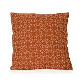 Orange Cotton Rich Vermicular Embroidered Cushion (18x18 in)