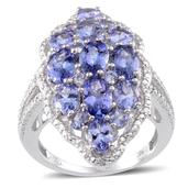 Tanzanite, Diamond Platinum Over Sterling Silver Ring (Size 7.0) TDiaWt 0.03 cts, TGW 5.670 cts.
