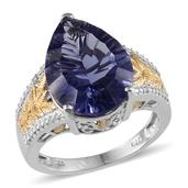 Purple Helenite, Diamond 14K YG and Platinum Over Sterling Silver Ring (Size 7) TDiaWt 0.01 cts, TGW 9.822 cts.