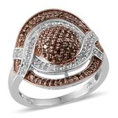 Champagne Diamond, Diamond 14K RG and Platinum Over Sterling Silver Ring (Size 9.0) TDiaWt 0.75 cts, TGW 0.750 cts.