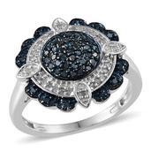 Blue Diamond (IR), Diamond Platinum Over Sterling Silver Ring (Size 7.0) TDiaWt 0.50 cts, TGW 0.500 cts.