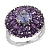 Purple Helenite, Amethyst, Diamond Platinum Over Sterling Silver Ring (Size 8) TDiaWt 0.02 cts, TGW 5.380 cts.