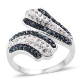 Blue and White Austrian Crystal Platinum Over Sterling Silver Ring (Size 7.0)