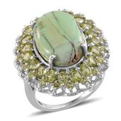 Utah Variscite, Hebei Peridot Platinum Over Sterling Silver Ring (Size 9.0) TGW 14.850 cts.