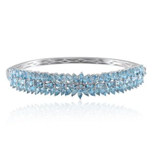 Swiss Blue Topaz Platinum Over Sterling Silver Bangle (7.5 in) TGW 13.35 cts.